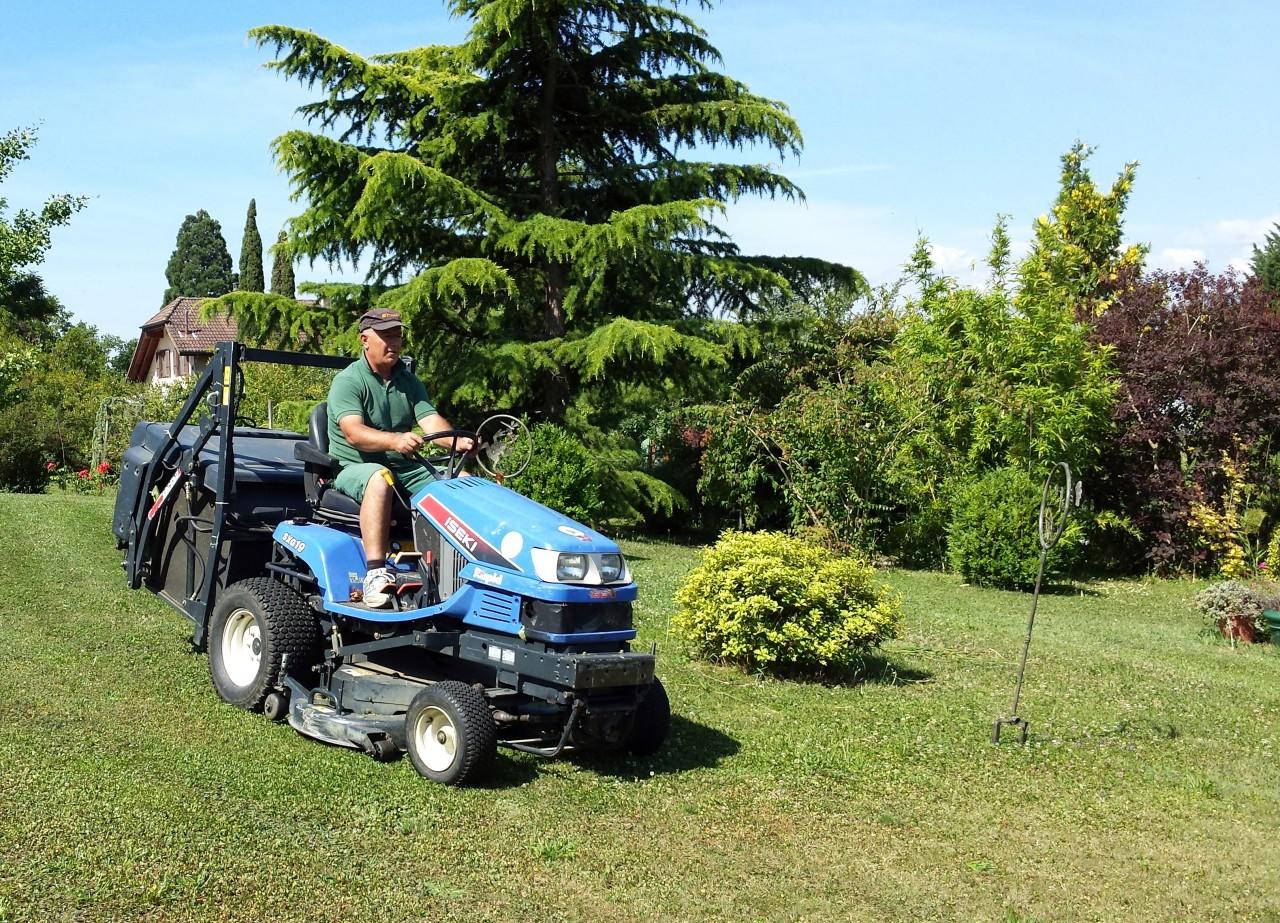 Tonte de grande surface avec tracteur-tondeuse